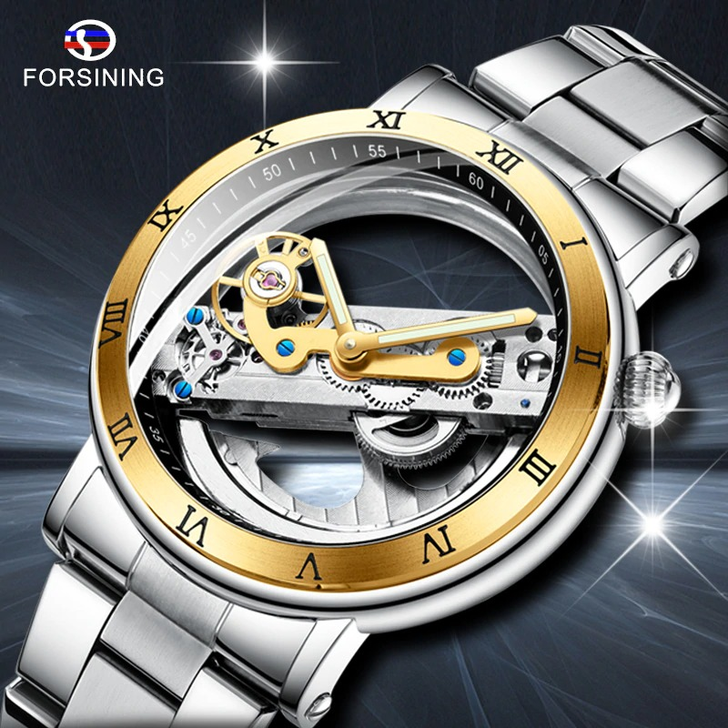 Watch with transparent top and bottom